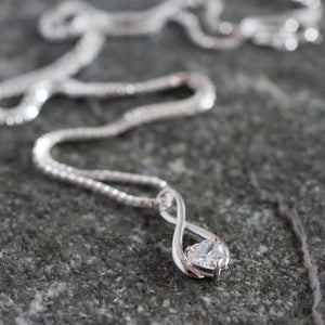 9ct White Gold Infinity Pendant Necklace