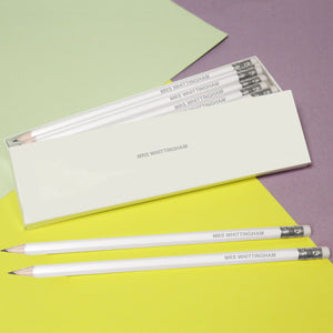 12 Personalised White Pencils - Silver Cuff & Eraser