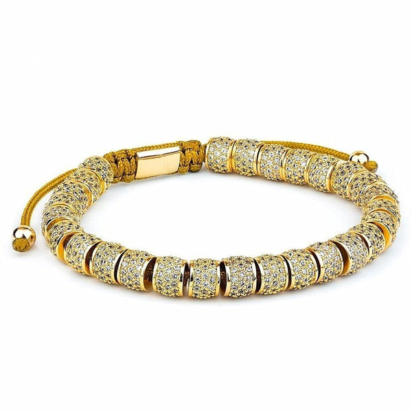 Gold Zircon Full Rims Deluxe Threaded Bracelet