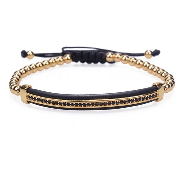 Zircon Bar Deluxe Threaded Bracelet