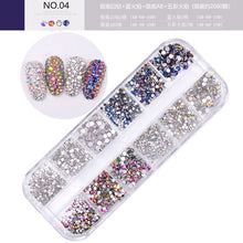 Load image into Gallery viewer, 12 boxes / set of AB crystal rhinestone diamond gem 3D glitter nail art decoration beauty