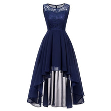 Load image into Gallery viewer, 2020 wedding party dress prom gown fashion clothing Front short long back dark blue halter Bow Bridesmaid Dresses