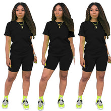Load image into Gallery viewer, Two-piece Solid Color Women's Clothing. Short-sleeved Crew Neck T-shirt and Tight-fitting Shorts. Simple Style Tracksuit Outfit