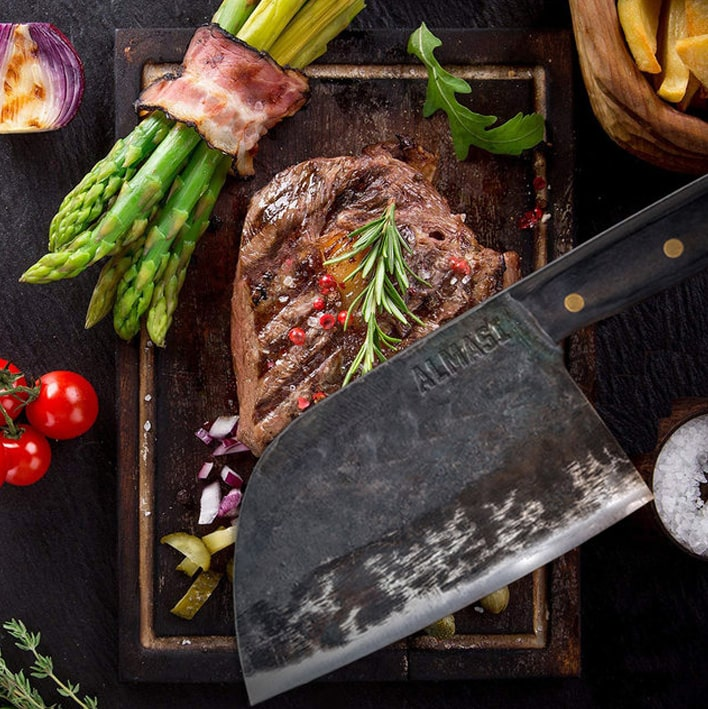 Almasi Serbian Chef's Knife On Steak