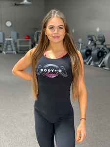 BODY BY O ANGEL SOLID BLACK TANK