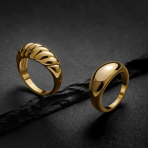 18k Dome Ring Gold Plated Braided Signet Ring