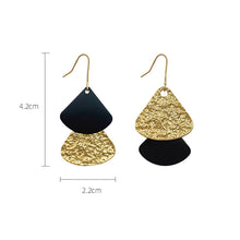 Load image into Gallery viewer, Dangle Earrings Asymmetrical Metal Sheet Fan Shell Shape