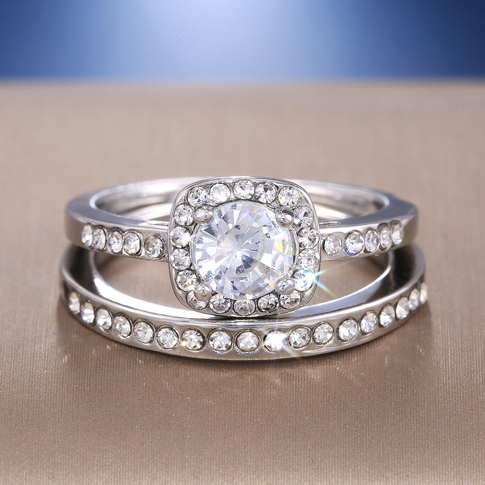 2PC Bridal Ring with Round Brilliant Cut Cubic Zircon Prong Setting Anniversary Engagement Wedding Rings for Women