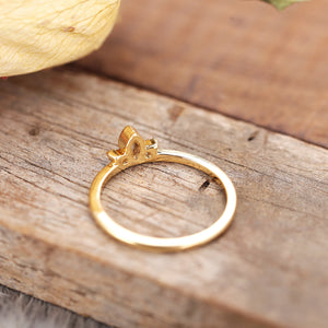 Dainty Finger Ring Three Stone Vintage Art Deco Stacking Ring