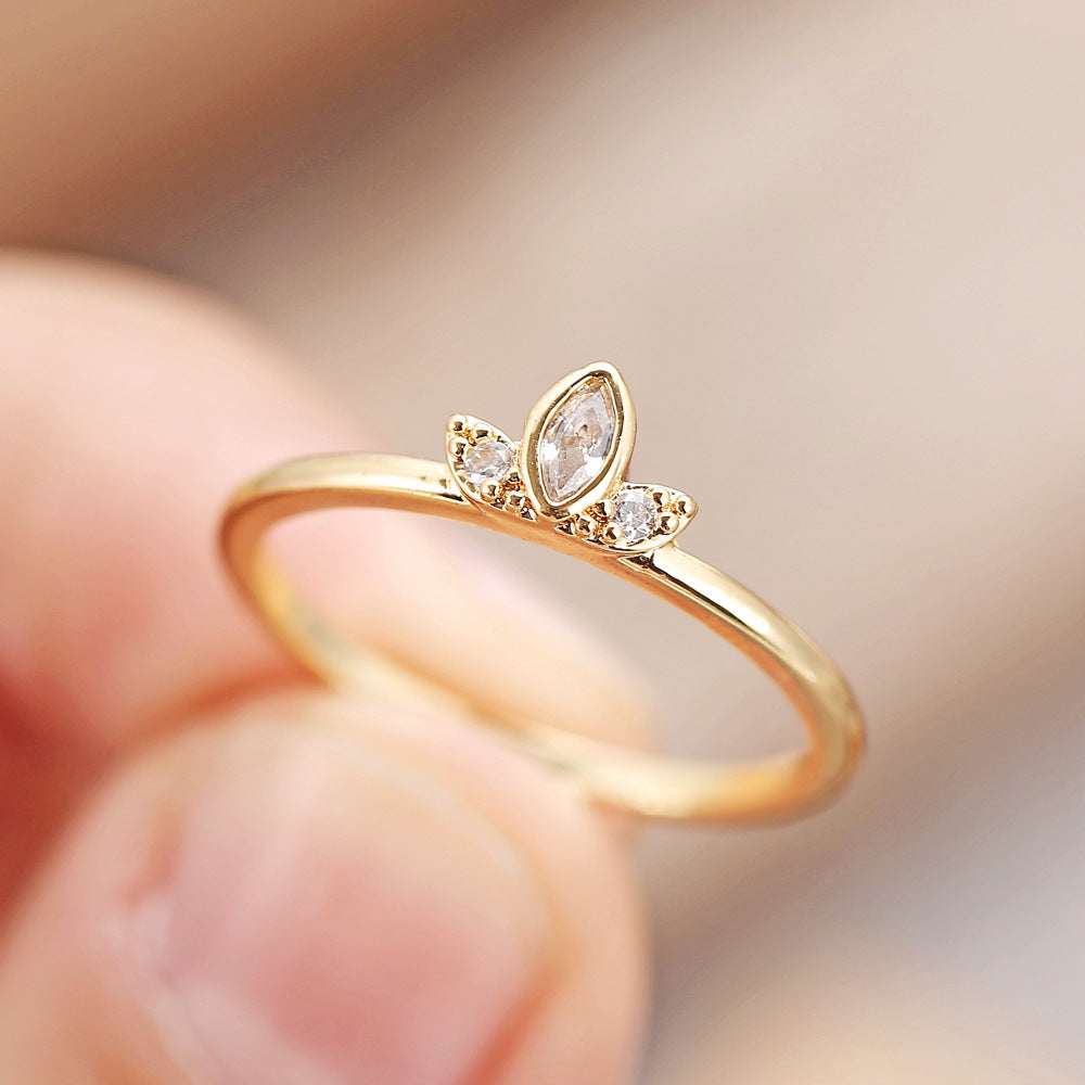 Dainty Finger Ring Three Stone Vintage Art Deco Stacking Ring Cubic Zirconia