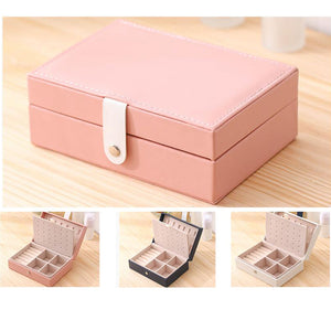 Jewelry Box for Travel Earrings Holder Portable PU Leather