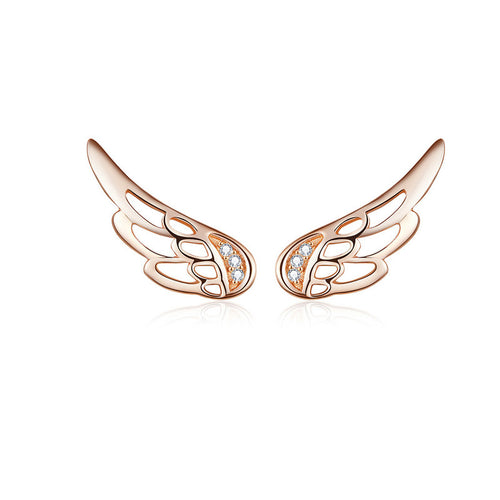 925 Sterling Rose Gold Feather Wings Stud Earrings