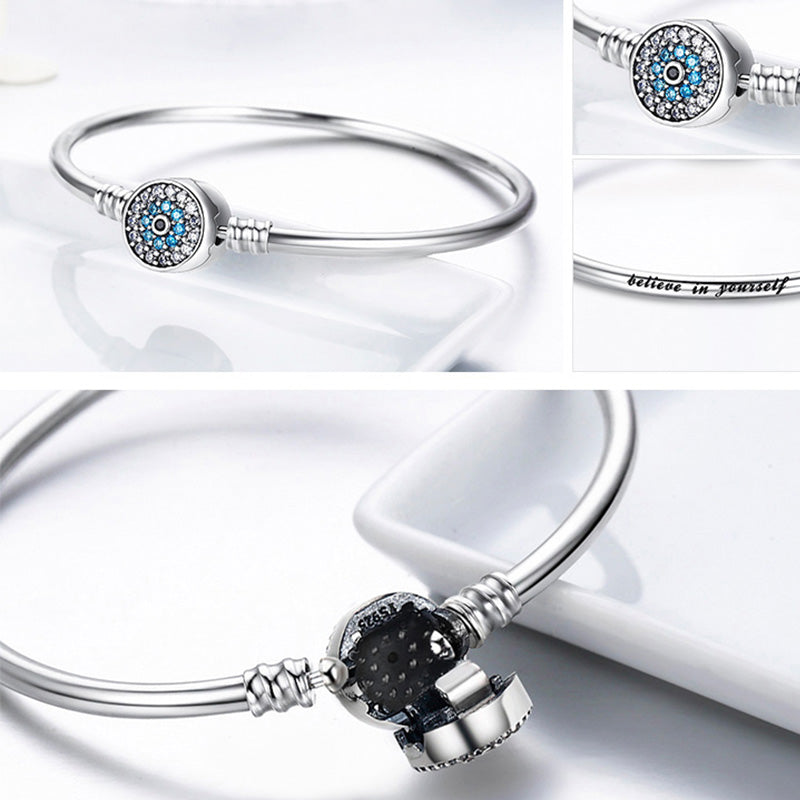 925 Sterling Silver Bangle Charm Bracelet Blue Lucky Evil Eyes