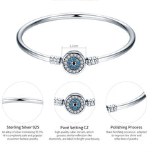 Load image into Gallery viewer, Evil Eyes Bangle 925 Sterling Silver Charm Bracelet Blue Lucky