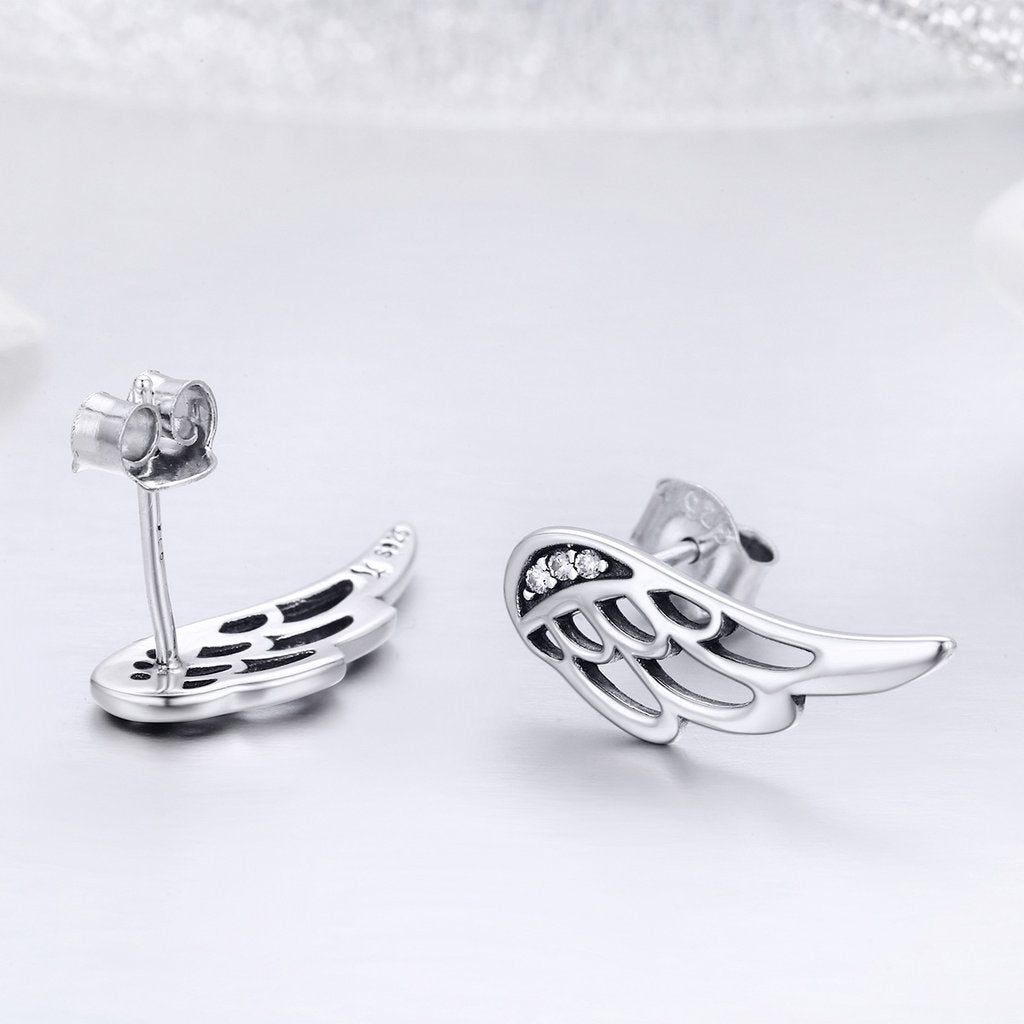 925 Sterling Silver Feather Wings Stud Earrings