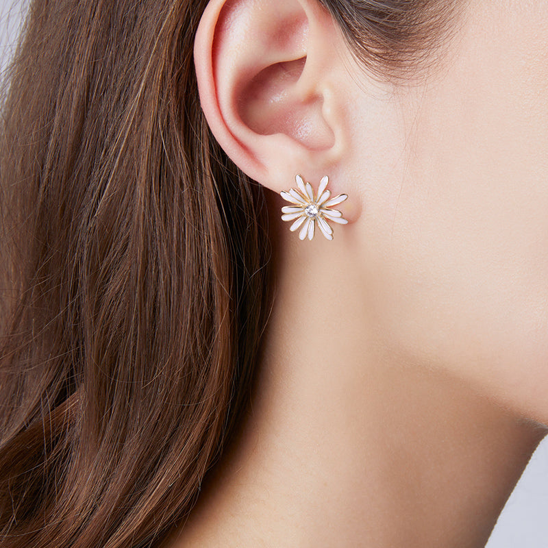 Daisy Earrings Stud 925 Sterling Silver Sunflower Tridimensional Design