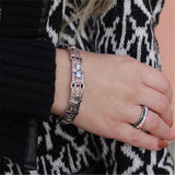 Adjustable Statement Bracelet Rhinestone Silver Gold for Women Toggle-clasps