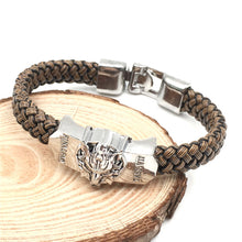 Load image into Gallery viewer, Final Fantasy Bracelet Wristband Bangle Wolf Head Charms Letter Engraved