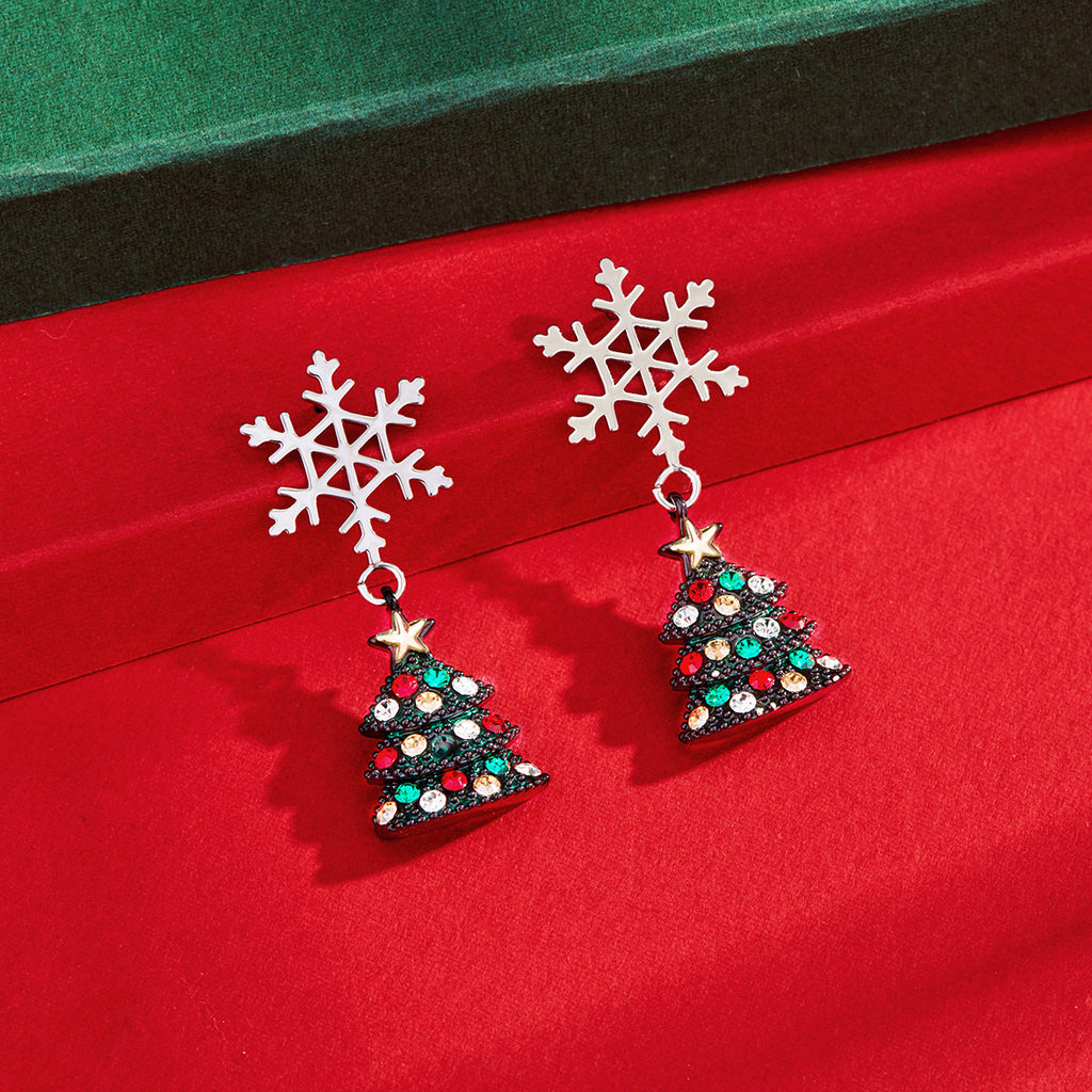 Sterling Silver Snowflake Earrings Winter Flake Snow Christmas Dangle 925 Italy