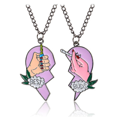 BFF Best Friend Puzzle Matching Necklaces 2 Pcs Friendship Broken Heart Pendant Necklaces