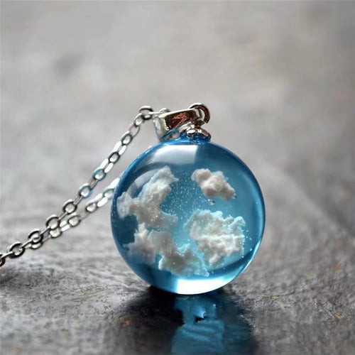Ball Pendant Necklace Resin Glass Ball White Clouds Blue Sky Universal