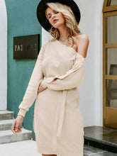 Load image into Gallery viewer, Beige Womens One Off Shoulder Knit Sweater Dress Pullover