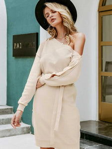 Beige Womens One Off Shoulder Knit Sweater Dress Pullover