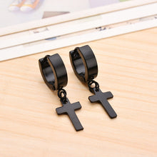 Load image into Gallery viewer, Black Cross Dangle Earrings