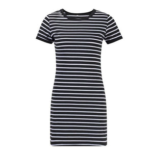Black White Striped Sheath Dress