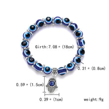 Load image into Gallery viewer, Blue Beads Evil Eye Charm Bracelet