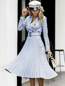 Midi dress pleated belt plaid A line V-neck for women autumn winter