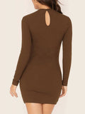 Bodycon Dress Brown Rib-Knit Keyhole Back Sexy