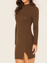Load image into Gallery viewer, Bodycon Dress Brown Rib-Knit Keyhole Back Sexy