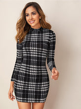 Load image into Gallery viewer, Bodycon Dress Black White Plaid Mock-Neck Long Sleeve