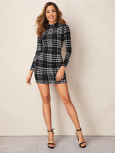 Load image into Gallery viewer, Bodycon Dress Plaid Mock-Neck Long Sleeve Black White