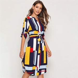 Casual Dress Geometric V Neck Colorblock with Belt