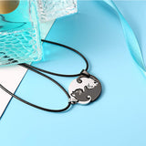 Cat Couple Lover Pendant Necklace Stainless Steel Puzzle Piece Matching