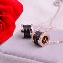 Load image into Gallery viewer, Ceramic Choker Necklace Cylinder for Sweater Rose Gold and Black