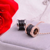 Ceramic Choker Necklace Cylinder for Sweater Rose Gold and Black