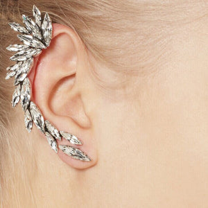 Cuff Climber Earrings clip on Punk Crystal Hypoallergenic