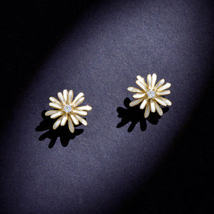 Daisy Earrings Stud Crystal 925 Sterling Silver Sunflower Tridimensional