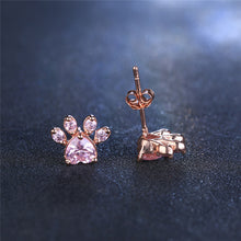 Load image into Gallery viewer, Dog Cat Paw Stud Earrings Rose Gold Color Cute For Women Girls Crystal Animal Footprint