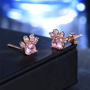 Dog Cat Paw Stud Earrings Rose Gold Color Cute For Women Girls Crystal Animal Footprint