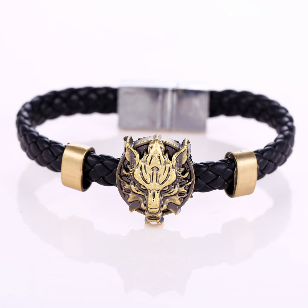 Final Fantasy Bracelet Wristband Bangle Brown Anime Wolf Head Woven Jewelry
