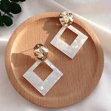 Load image into Gallery viewer, Geometric Statement Earrings White Acrylic 2020