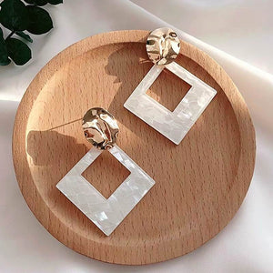 Geometric Statement Earrings White Acrylic 2020