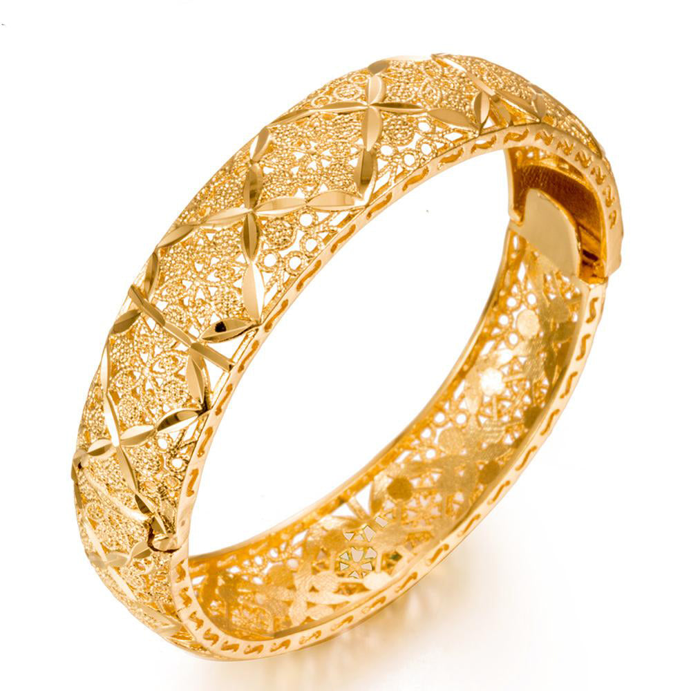Luxury 24k Gold Color Bracelet Ethiopian Jewelry Bangles For Women