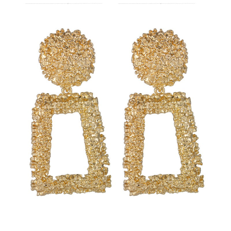Gold Geometric Statement Earrings Textured Rectangular