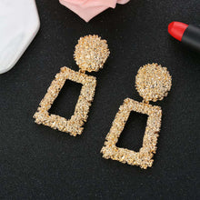 Load image into Gallery viewer, Gold Geometric Statement Earrings Textured Rectangular