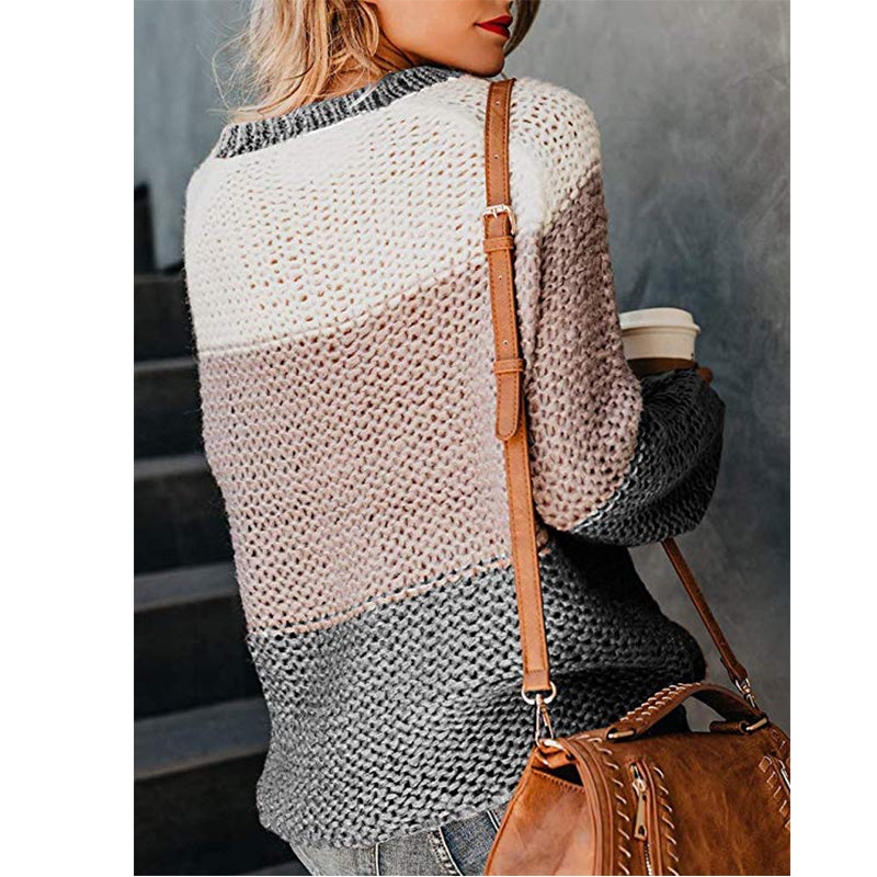 Women Oversize Sweater Fluffy Mohair Long Sleeve Patchwork Color Striped